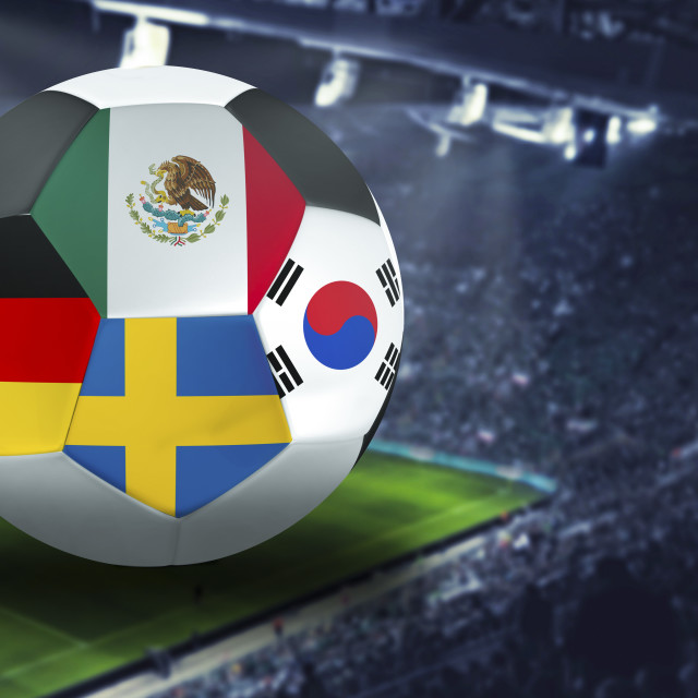 """Football Cup group F in Russia: Germany, Mexico, Sweden, South Korea"" stock image"
