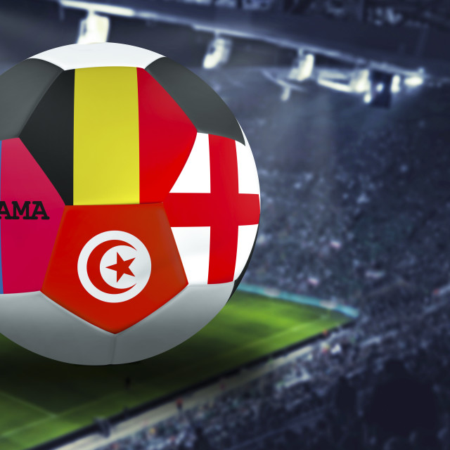 """Football Cup group g in Russia, England, Belgium, Panama, Tunisia"" stock image"