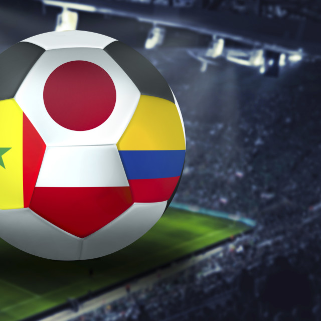 """Football Cup group h in Russia: Japan, Poland, Senegal, Colombia"" stock image"