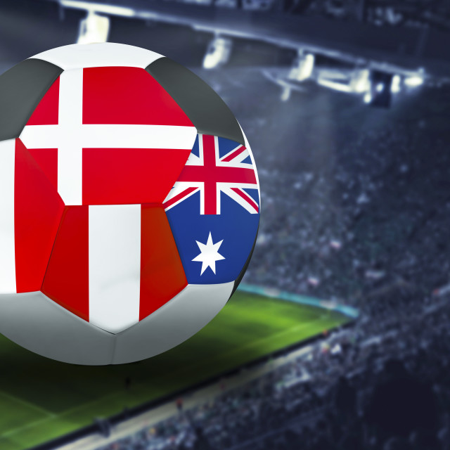 """Football Cup group h in Russia: Australia, Peru, Denmark. France"" stock image"