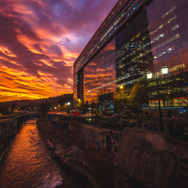 """""""A sunset in Santiago"""" stock image"""