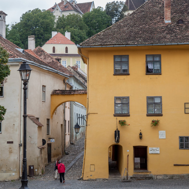 """""""SIGHISOARA, ROMANIA - SEPTEMBER 22, 2017: Picture of the house where Vlad..."""" stock image"""