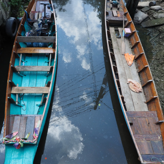 """""""Peaceful boats on a canal"""" stock image"""