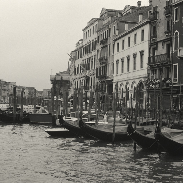 """Grand Canal, Venice in Sepia Black & White"" stock image"