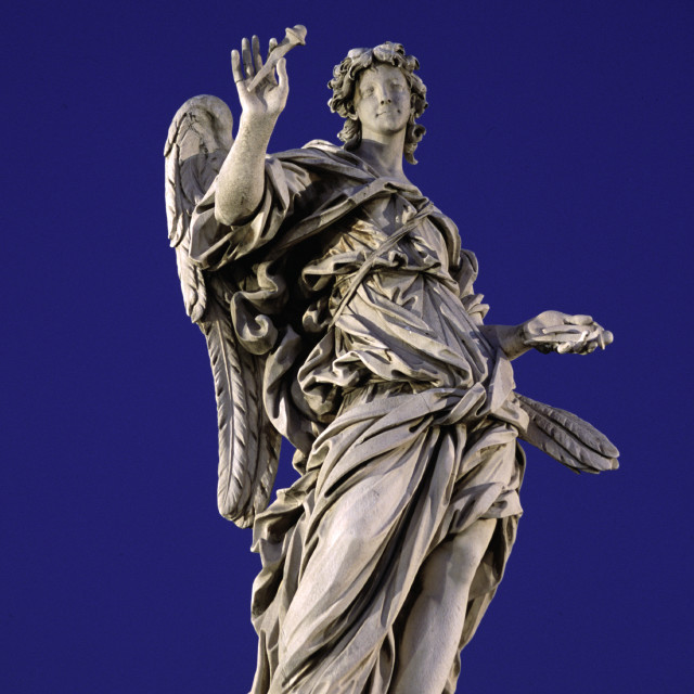 """Statue of Angel by Bernini, Ponte Saint' Angelo, Rome-66547"" stock image"