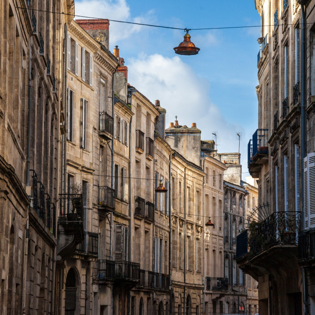 """""""Facade of medieval buildings in a street in the city center of Bordeaux,..."""" stock image"""