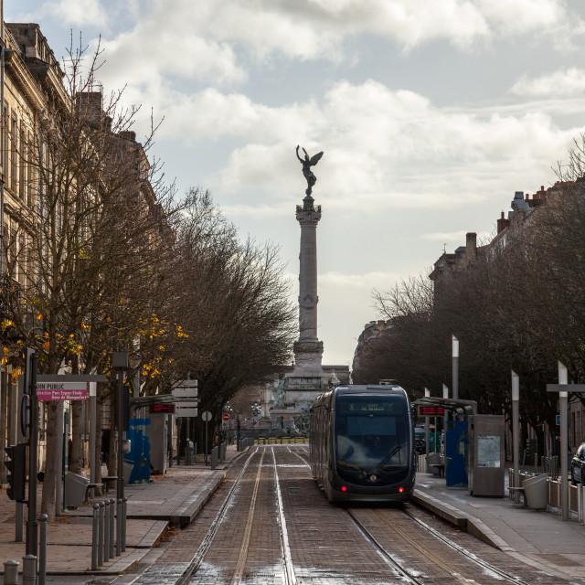 """BORDEAUX, FRANCE - DECEMBER 27, 2017: Bordeaux tram stop on line C (Jardin..."" stock image"