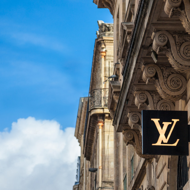 """BORDEAUX, FRANCE - DECEMBER 27, 2017: Louis Vuitton Logo on their local shop..."" stock image"