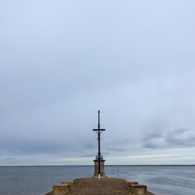 """""""Sailors Cross (Croix des Marins) during a cloudy rainy afternoon in Gujan..."""" stock image"""