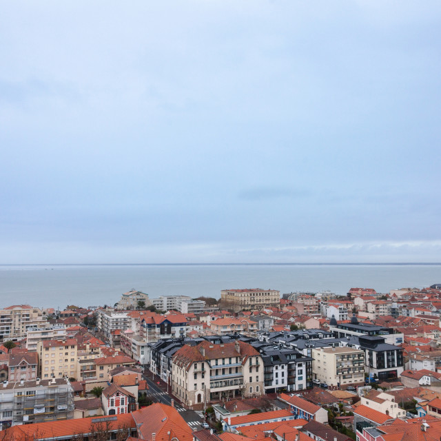 """""""Aerial view of Arcachon, France, during a storm on a cloudy rainy day...."""" stock image"""