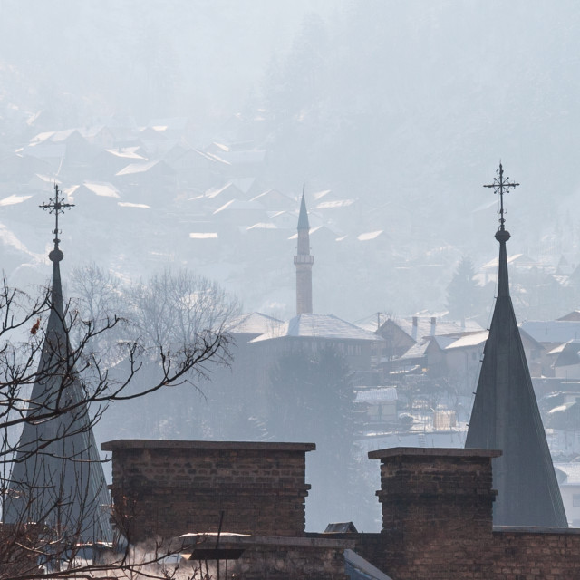 """""""Minaret and church towers (steeples) on the hills of Sarajevo, Bosnia and..."""" stock image"""