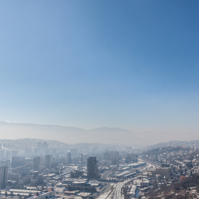 """""""Picture of the newer part of Sarajevo (Novo Sarajevo) seen from an elevated..."""" stock image"""