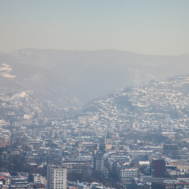 """""""Aerial view of Sarajevo during a sunny winter afternoon, covered in snow. The..."""" stock image"""