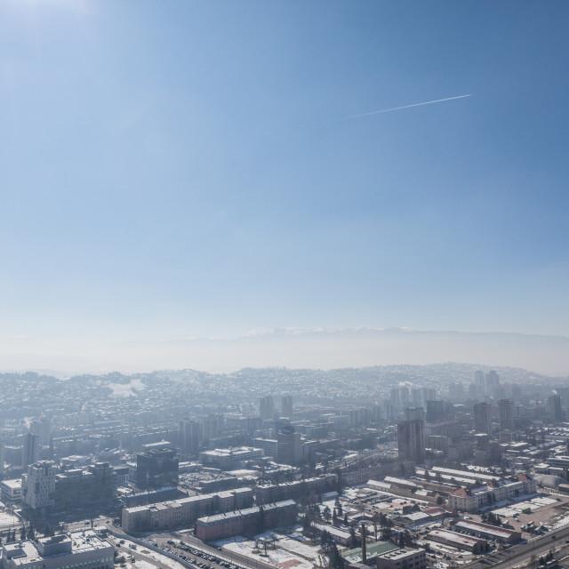 """""""SARAJEVo, BOSNIA - FEBRUARY 16, 2018: Picture of the newer part of Sarajevo..."""" stock image"""