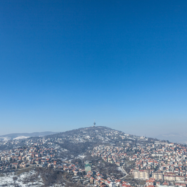 """""""Aerial view of the hills of the suburbs of Sarajevo, Bosnia and Herzegovina..."""" stock image"""