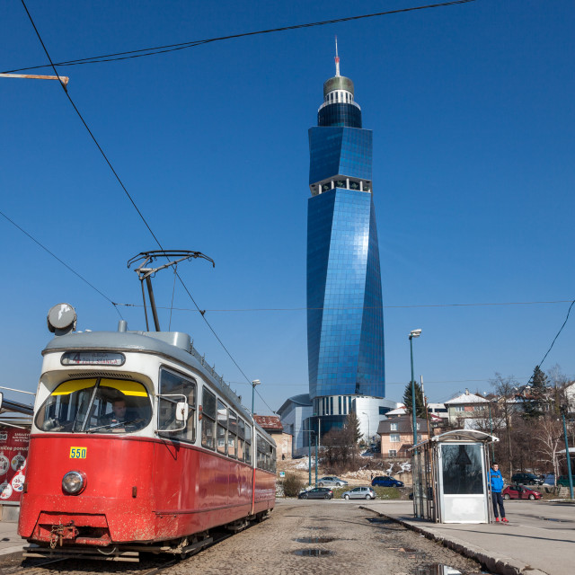 """SARAJEVO, BOSNIA - FEBRUARY 16, 2018: Tram ready for departure on the train..."" stock image"