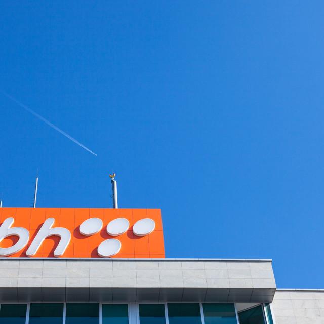 """SARAJEVO, BOSNIA - FEBRUARY 16, 2018: BH Telecom logo on a sign on their..."" stock image"