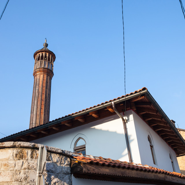 """""""Old mosque with a wooden minaret taken in the older part of Sarajevo, capital..."""" stock image"""