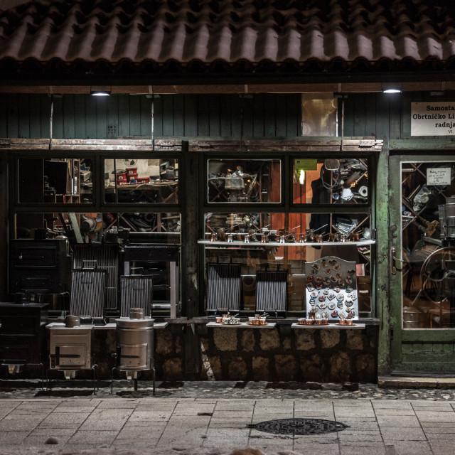 """SARAJEVO, BOSNIA AND HERZEGOVINA - FEBRUARY 16, 2018: Shop in a street of the..."" stock image"