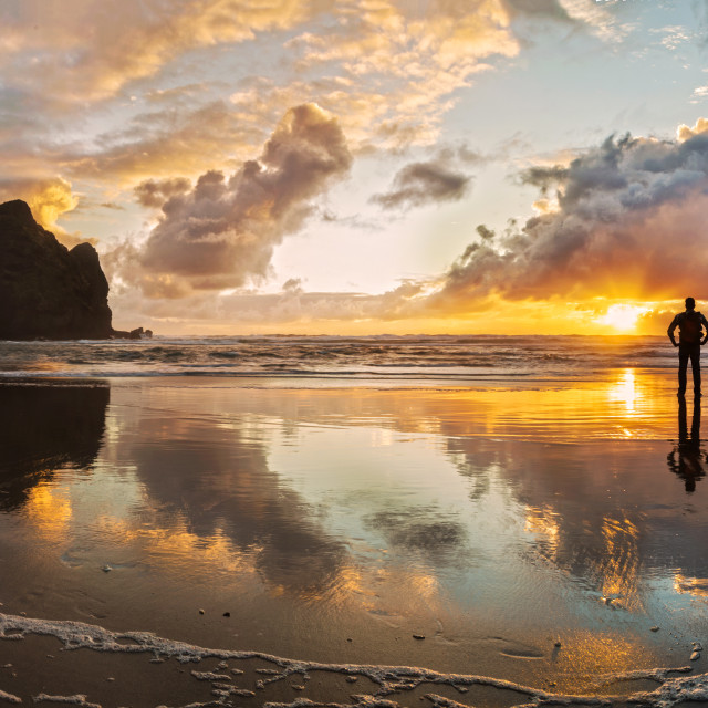 """Dusk at Piha Beach New Zealand"" stock image"