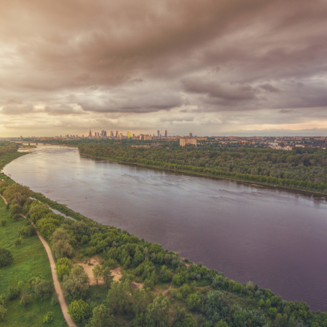 """Aerial view of Vistula river and Warsaw city center"" stock image"