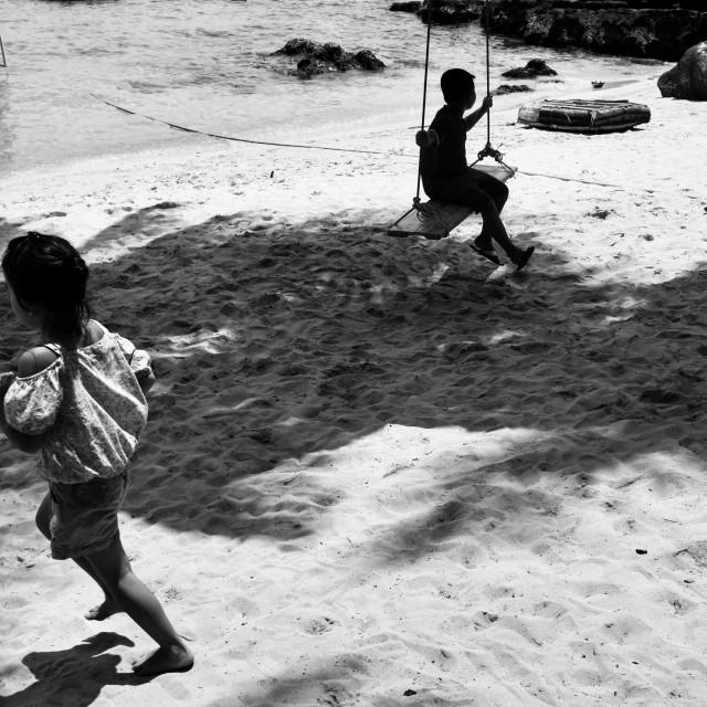 """Children on the beach"" stock image"