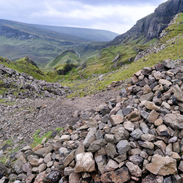 """A large cairn built by walkers - The Quiraing, Isle of Skye"" stock image"