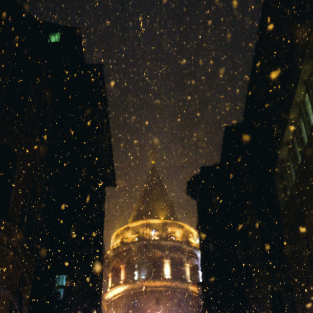 """Snow in Galata Tower"" stock image"