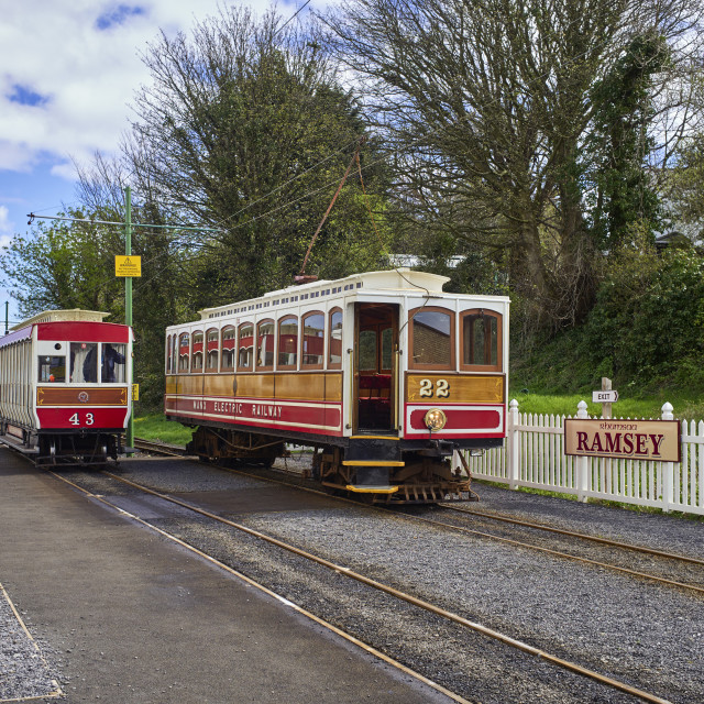 """""""Tramcar at Ramsey electric train station"""" stock image"""