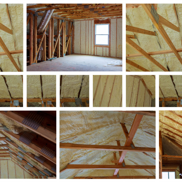 """Insulation of attic with fiberglass cold barrier and insulation material photo collage"" stock image"