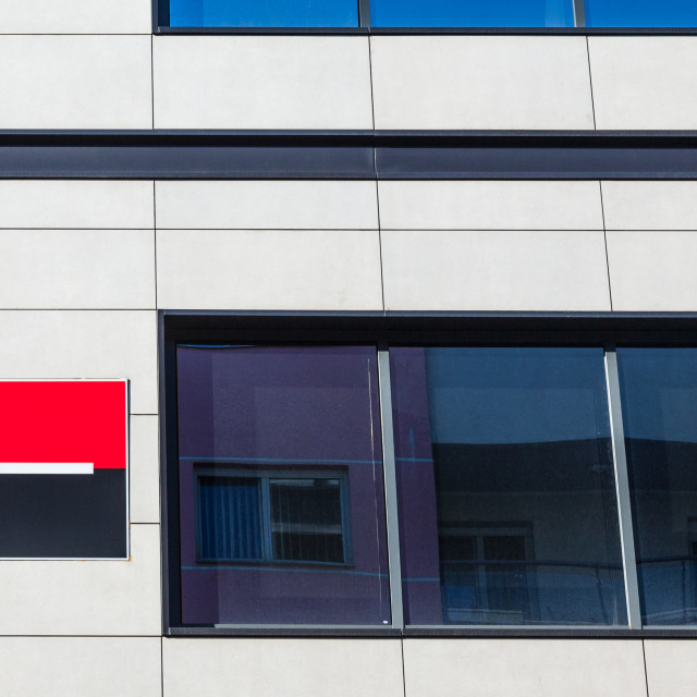 """""""BELGRADE, SERBIA - APRIL 29, 2018: Logo of the Societe Generale Srbija Bank on their headquarters for Serbia. Societe Generale is one of the leading banks in Europe and in the Balkans"""" stock image"""