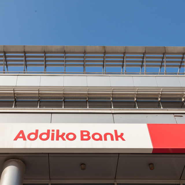 """""""BELGRADE, SERBIA - APRIL 29, 2018: Logo of Addiko Bank on their local headquarters for Serbia. Formerly Hypo Alpe Adria, Addiko is an Austrian banking group spread in Southeastern Europe"""" stock image"""