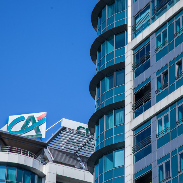 """""""BELGRADE, SERBIA - APRIL 29, 2018: Logo of Credit Agricole on their local headquarters for Serbia. Credit Agricole Srbija is one of the French leading retail banks, spread in Europe"""" stock image"""