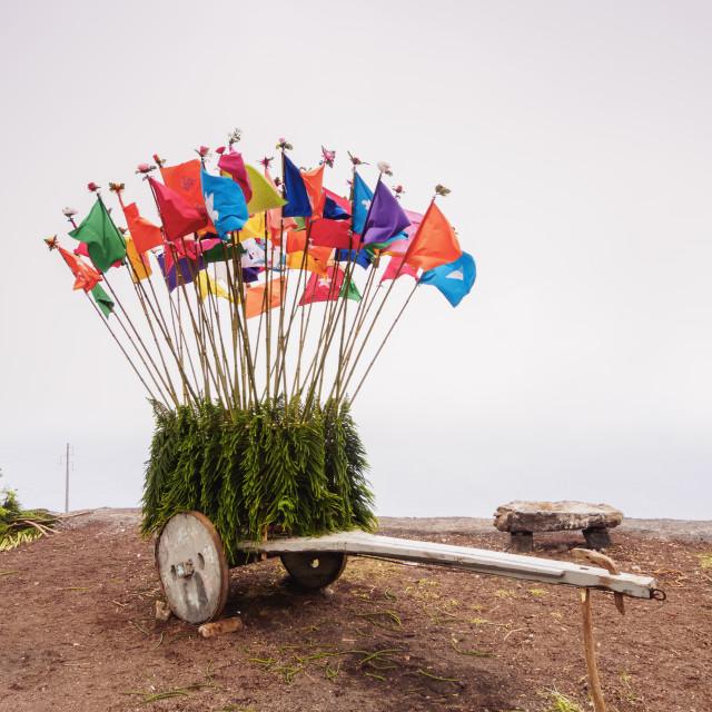 """Holy Spirit Festivity Decorations, Sao Jorge Island, Azores, Portugal"" stock image"