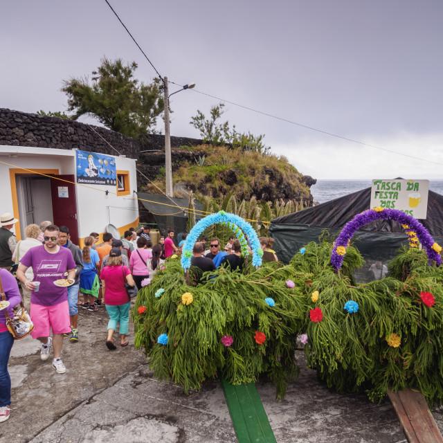 """Holy Spirit Festivity Celebration on Sao Jorge Island, Azores, Portugal"" stock image"