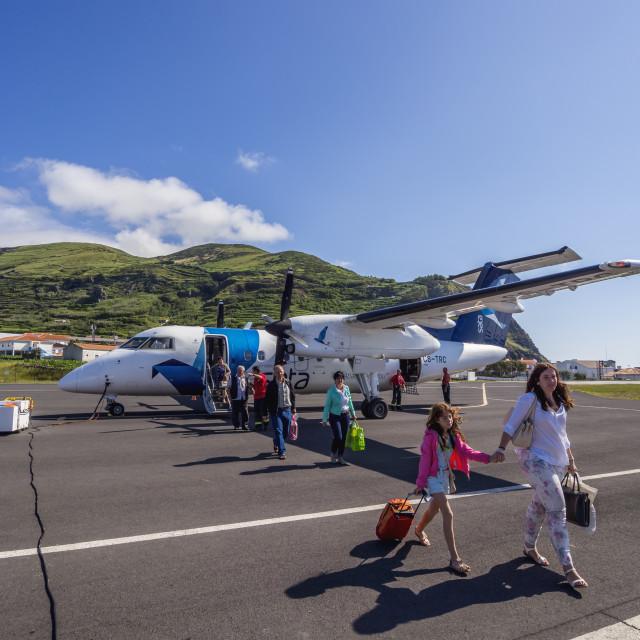 """Portugal, Azores, Corvo, Sata Air Acores Airplane on the Corvo Airport."" stock image"