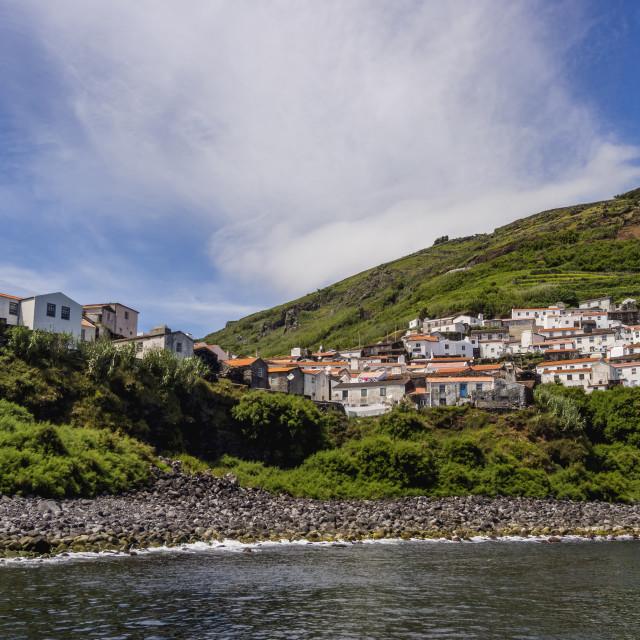 """""""Portugal, Azores, Corvo, View of the Vila do Corvo."""" stock image"""