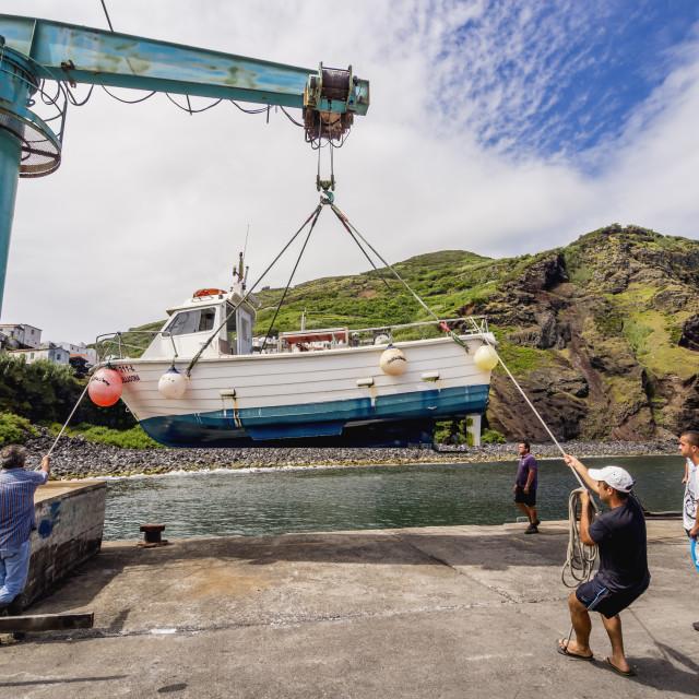 """""""Portugal, Azores, Corvo, View of the port in Vila do Corvo."""" stock image"""