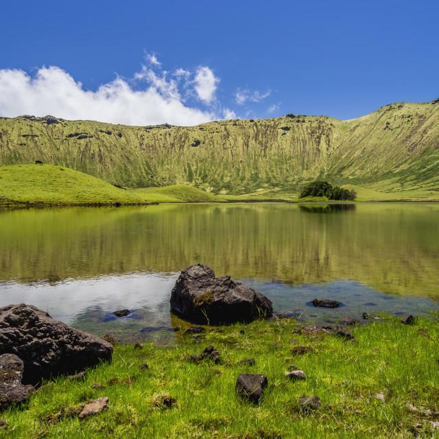 """""""Portugal, Azores, Corvo, Landscape of the Caldeirao do Corvo."""" stock image"""
