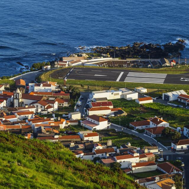 """Portugal, Azores, Corvo, Elevated view of the Vila do Corvo."" stock image"