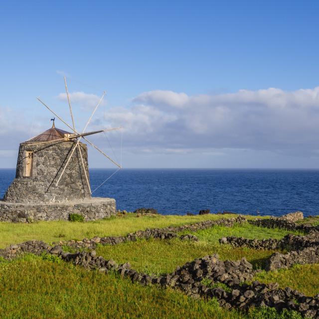 """Portugal, Azores, Corvo, Vila do Corvo, Traditional Windmill."" stock image"