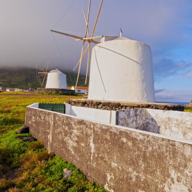 """Portugal, Azores, Corvo, Vila do Corvo, Traditional Windmills."" stock image"