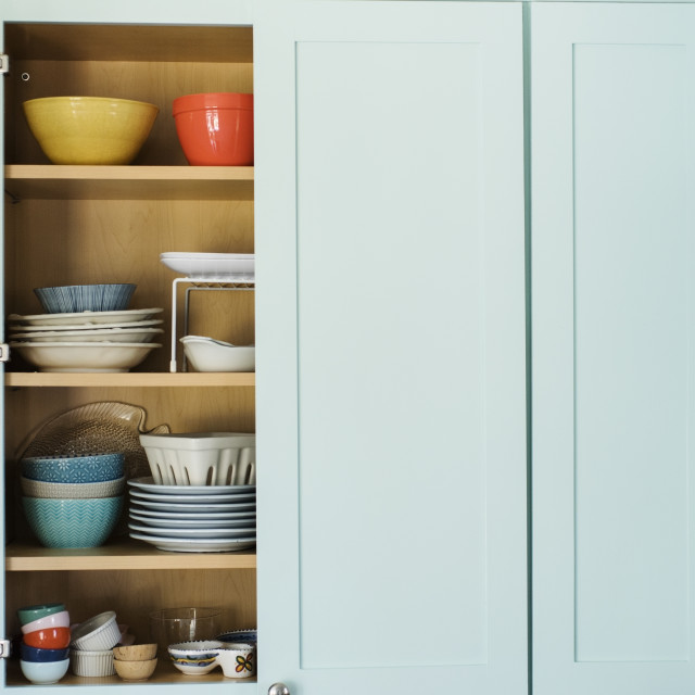 """""""Dishes in cupboard"""" stock image"""
