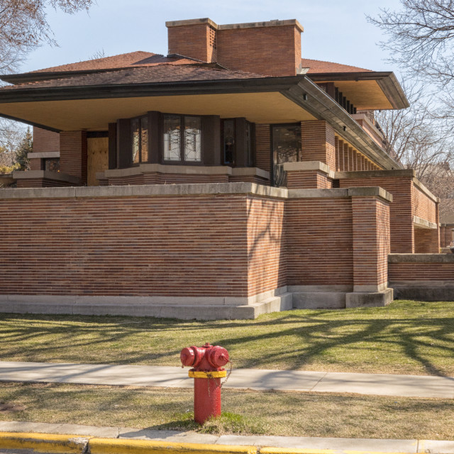 """""""CHICAGO, IL -APRIL 08,2018- Frederick C. Robie House, designed by American architect Frank Lloyd Wright and built in 1910"""" stock image"""