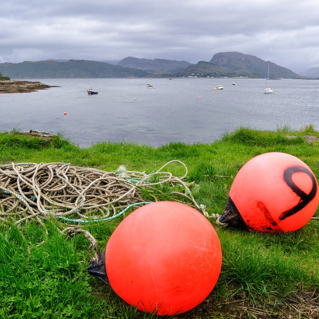 """Buoys and rope - Plockton, Highlands of Scotland"" stock image"