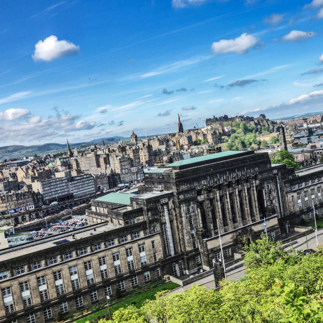 """View of St Andrew's House from Calton Hill"" stock image"