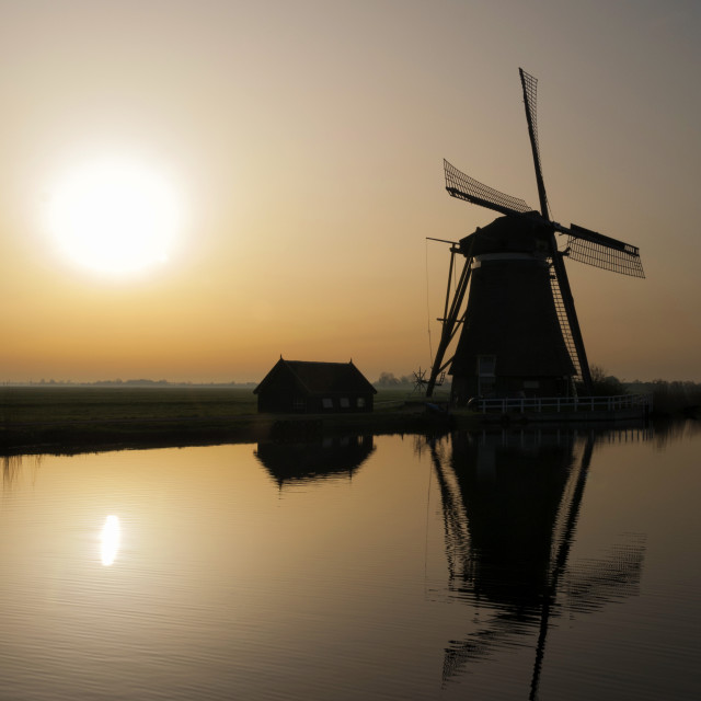 """Achtkante mill in backlight"" stock image"