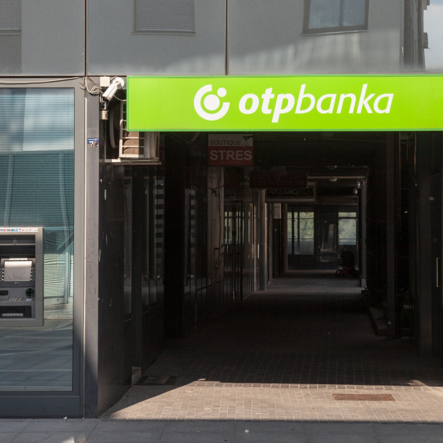 """""""VUKOVAR, CROATIA - MAY 12, 2018: OTP Bank (OTP Banka) logo on their main office for Vukovar. OTP Bank Group is one of the largest Hungarian banks, spread accross in Central and Eastern Europe"""" stock image"""