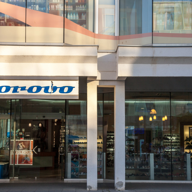 """""""VUKOVAR, CROATIA - MAY 11, 2018: Borovo Shoes Logo on their main shop in Vukovar. Borovo Shoes (Borovo cipele) is the main shoe producer in Croatia, and a symbol of its economy"""" stock image"""