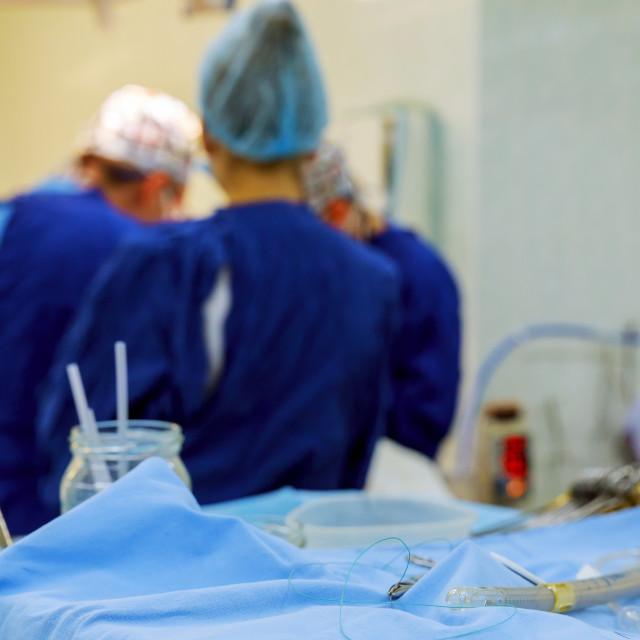 """Open heart cardiac bypass surgery operation room soft focus"" stock image"
